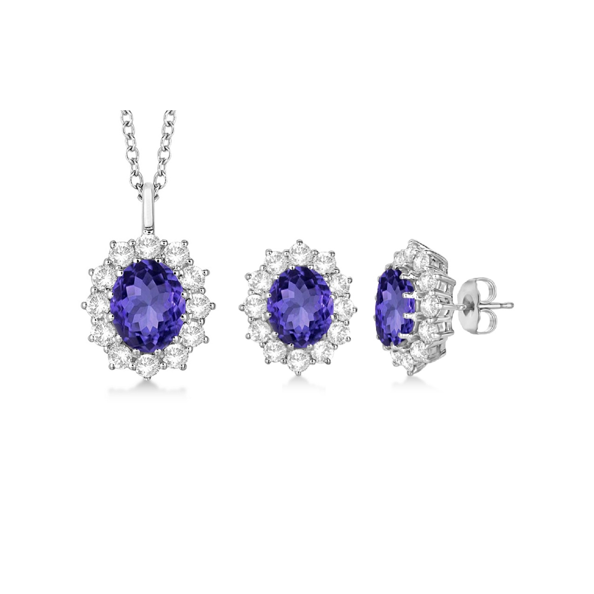 Beautiful 2.52 Carat Oval Shaped 6x4mm Natural Tanzanite With White Topaz Earrings And Necklace Set In 925 Sterling... by Diamond Princess