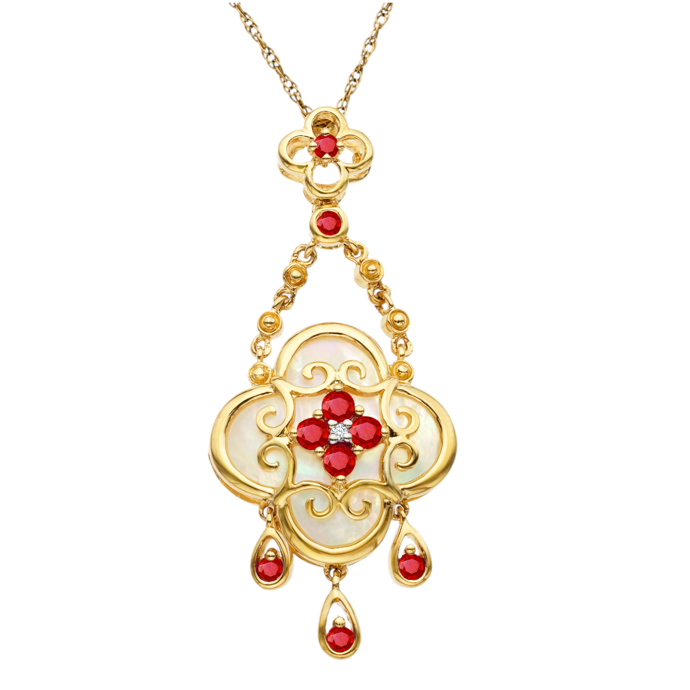3 8 ct Ruby and Natural Mother-of-Pearl Pendant Necklace in 10kt Gold by Richline Group