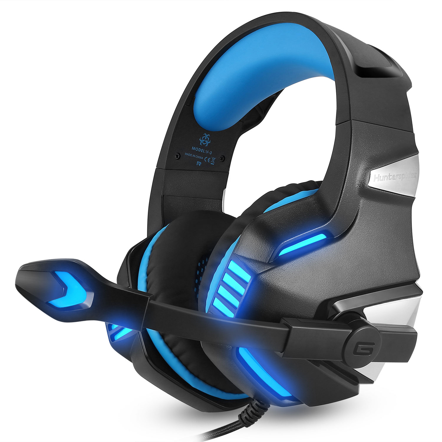 Hunterspider Gaming Headset for PS4 Xbox One, Over Ear Gaming Headphones with Mic, Stereo Bass Surround, LED Lights and Volume Control for Laptop, PC, Mac, iPad, Smartphones
