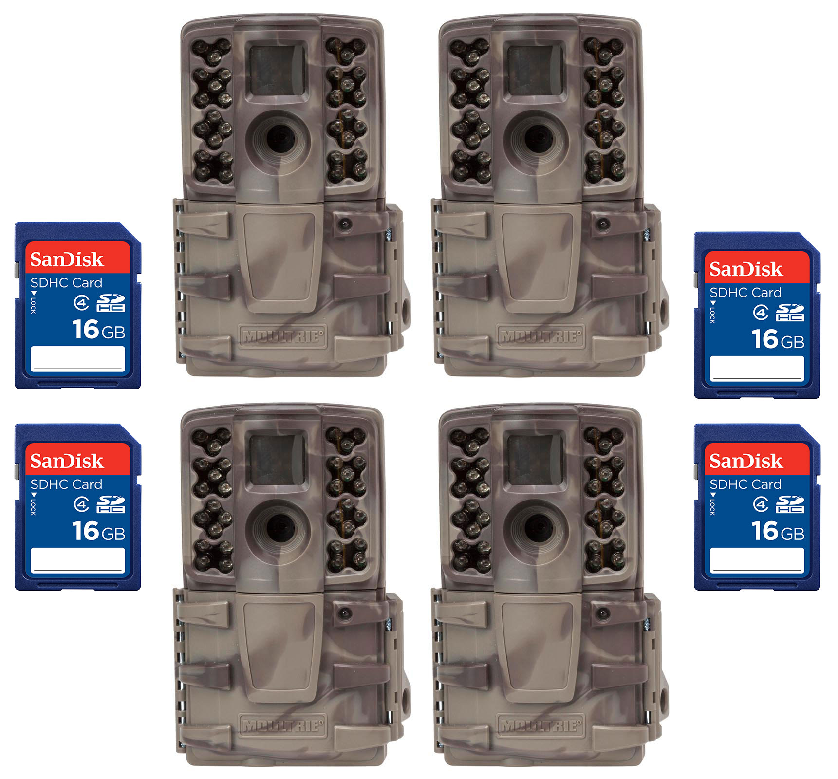 (4) Moultrie No Glow Invisible 12 MP Mini A20i IR Trail Game Cameras + SD Cards
