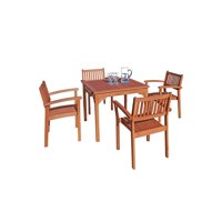 """5-Piece Brown Natural Wood Finish Table Outdoor Furniture Patio Dining Set with Stacking Chairs 35"""""""