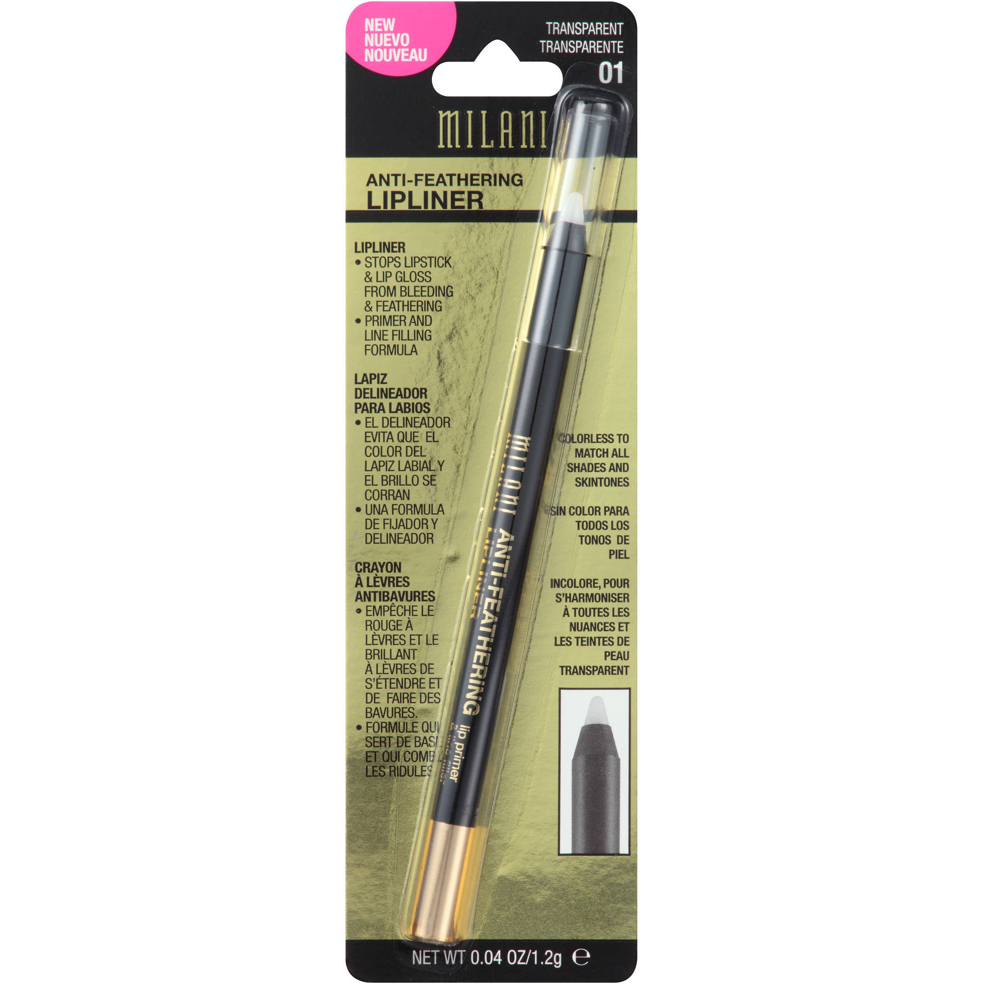 Milani Anti-Feathering Lipliner, 01 Transparent, 0.04 oz