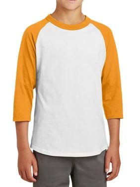 Mafoose Youth 3/4 Sleeves Colorblock Raglan Baseball Soft Jersey Heather Grey/ Black YT200 XS