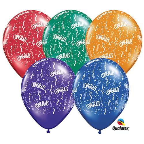 "Burton & Burton 11"" Congrats All Around Balloons, Pack Of 50"