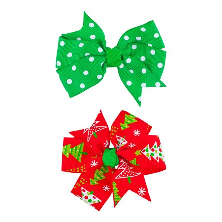 Holiday Accessories (Lux Accessories Red Green Polka Dot Christmas Tree Christmas Holiday 2PC Bow)