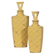 Elizabeth Austin Pale Yellow Textured Vases with Lids - Set of 2