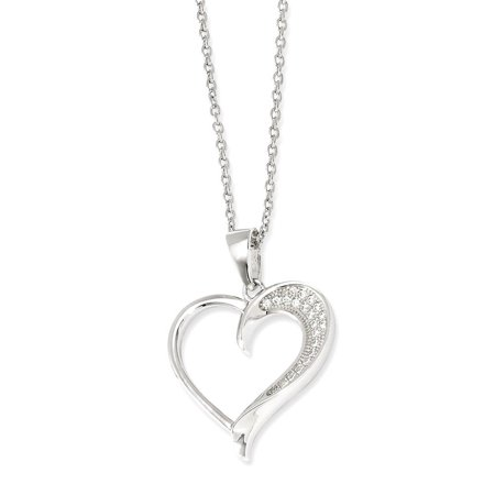 (925 Sterling Silver Cubic Zirconia Cz Heart Chain Necklace Pendant Charm S/love Fine Jewelry For Women Gift Set)
