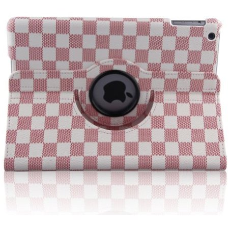 Topchances Stylish Grid Design For Ipad 5 Air  5Th Gen  Tablet  With Smart Cover Auto Wake Sleep And 360 Degree Rotating Stand  Pink
