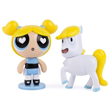 The Powerpuff Girls - 2 inch Action Dolls with Display Stands - 2-Pack - Bubbles & Donny the Unicorn, Each Action Doll figure features TV show styling.., By Power Puff Girls Ship from US