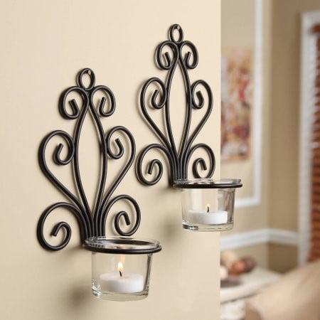 Rectangular Candle Sconce - Mainstays Scroll Wall Sconce Candleholders, Set of 2