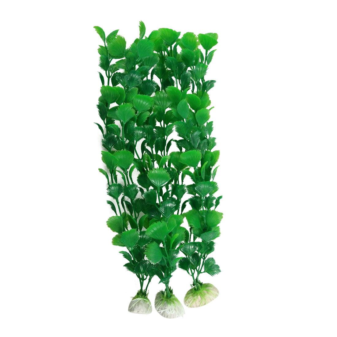3 Pcs Green Fan Shaped Leaf Fish Tank Artificial Plant