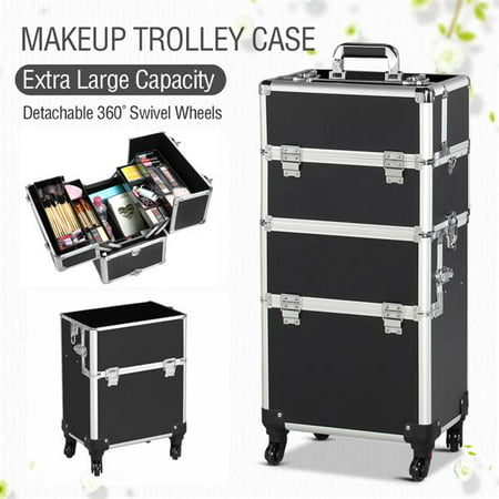 Quilted Trolley - 3 in 1 Professional Aluminum Rolling Makeup Trolley Artist Train Case Cosmetic Organizer Makeup Case(4 wheeler accessories) Black
