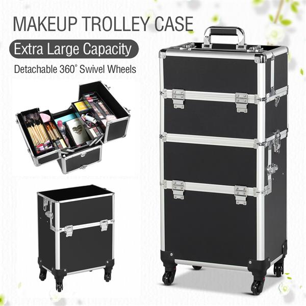 3 in 1 Professional Aluminum Rolling Makeup Trolley Artist Train Case Cosmetic Organizer Makeup Case(4 wheeler accessories) Black