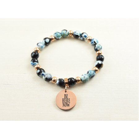 Holly Blue Agate (Genuine Agate Inspirational Bracelet - Blue - Be Here)