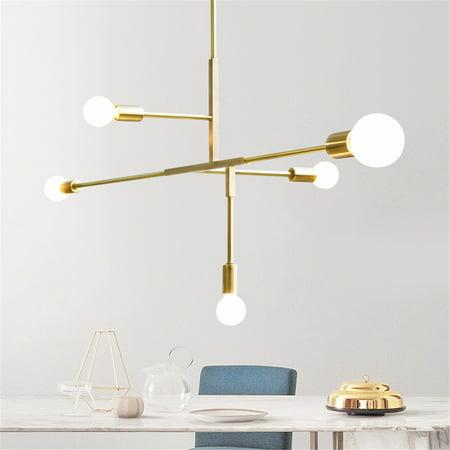 5 Lights Chandeliers Pendant Light Industrial Gold Metal Ceiling Fixtures