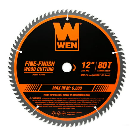 WEN 12-Inch 80-Tooth Fine-Finish Professional Woodworking Saw Blade for Miter Saws and Table Saws,