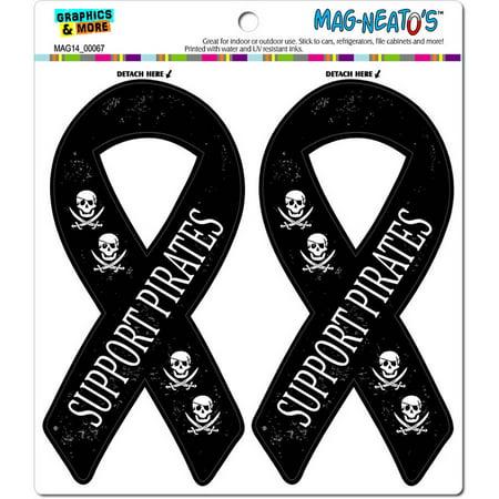 Pirates Skull Swords Support Ribbon Funny Automotive Car Refrigerator Locker Vinyl Magnet Set (Pirate Ribbon)