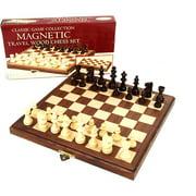 """Classic Games Collection 11"""" Inlaid Walnut Wood Magnetic Chess"""