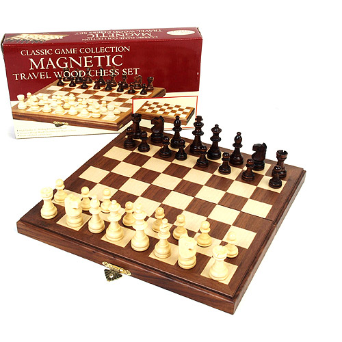 "Classic Games Collection 11"" Inlaid Walnut Wood Magnetic Chess"