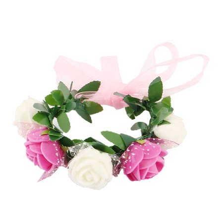 Wedding Foam Adjustable Artificial Rose Flower Hand Bracelet Wreath Garland