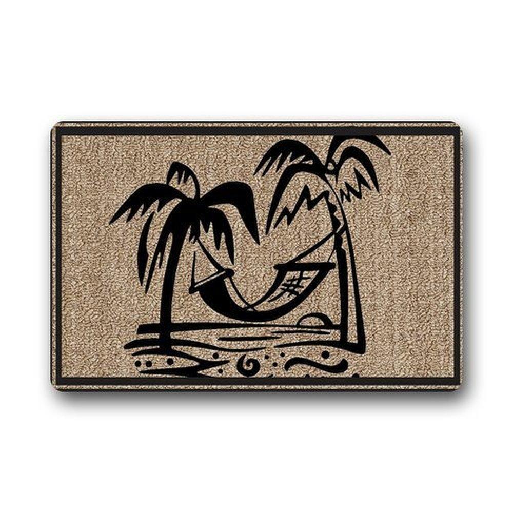 WinHome Palm Tree Hawaii Bseach Doormat Floor Mats Rugs Outdoors/Indoor Doormat Size 30x18 inches