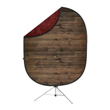 - savage 5x7' collapsible backdrop with 8' aluminum stand, red/rustic planks