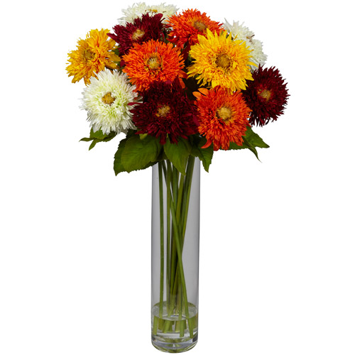 Nearly Natural Sunflower with Cylinder Silk Flower Arrangement, Assorted
