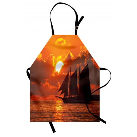 Sailboat Apron A Boat Sailing in Front of a Sunset in Key West Florida Sundown Tropical, Unisex Kitchen Bib Apron with Adjustable Neck for Cooking Baking Gardening, Orange Dark Orange, by