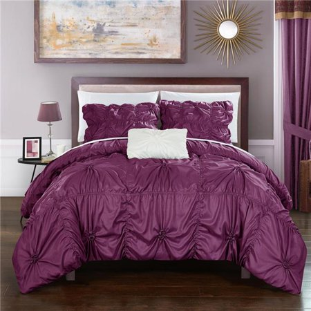 Chic Home DS2249-US 4 Piece Monet Floral Pinch Pleat Ruffled Designer Embellished Queen Duvet Cover Set, Purple ()