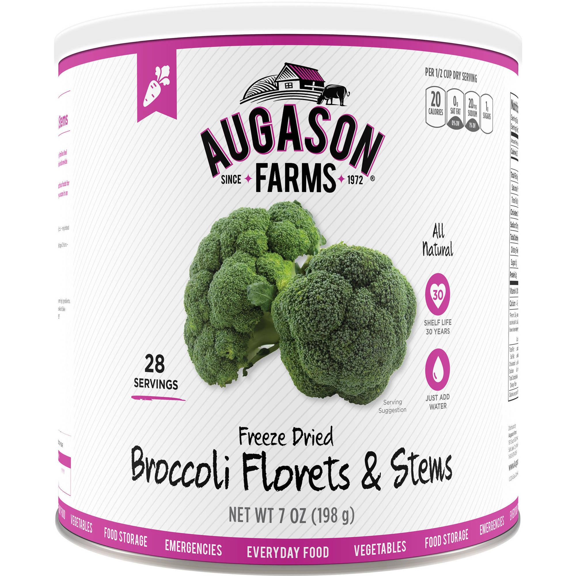 Augason Farms Emergency Food Freeze Dried Broccoli Florets & Stems, 7 oz