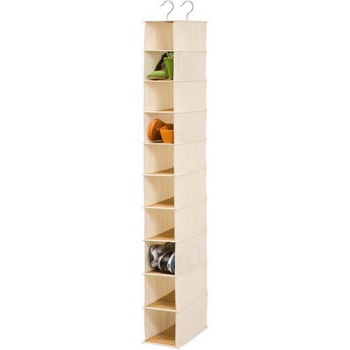 Honey Can Do Bamboo Hanging 10-Shelf Shoe Organizer, Beige by Honey Can Do