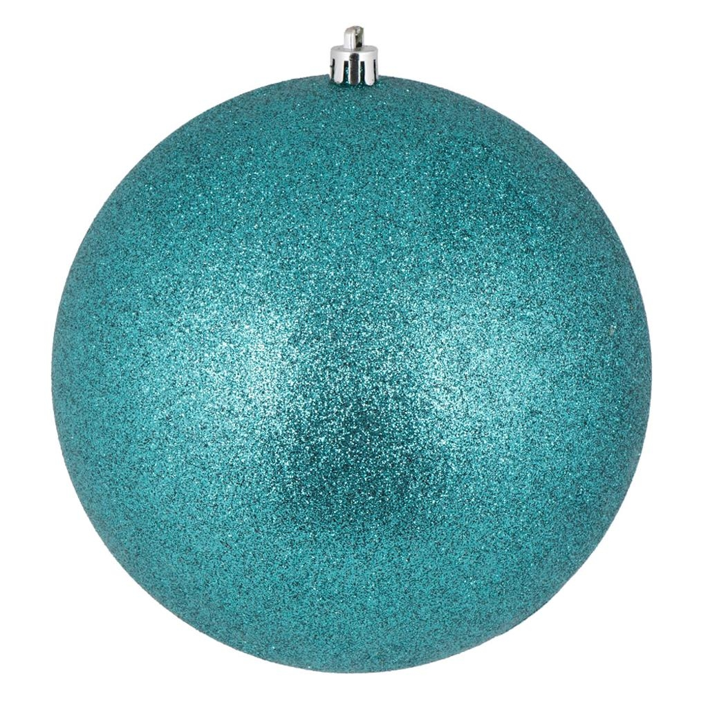 "Vickerman 444344 - 4"" Teal Glitter Ball Christmas Tree Ornament (6 pack) (N591042DG)"