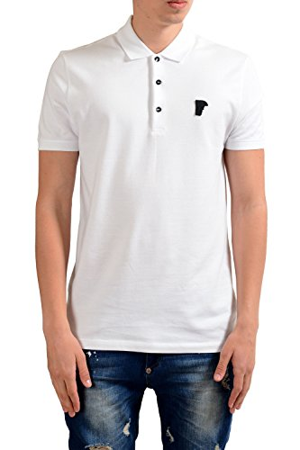 Versace Collection Mens Gray Short Sleeves Polo Shirt US S IT 48