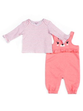 Little Lass Baby Girl Bear Quilted Overall and Striped Top, 2pc Outfit Set