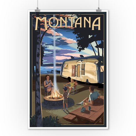 Montana   Retro Camper   Lake   Lantern Press Artwork  9X12 Art Print  Wall Decor Travel Poster