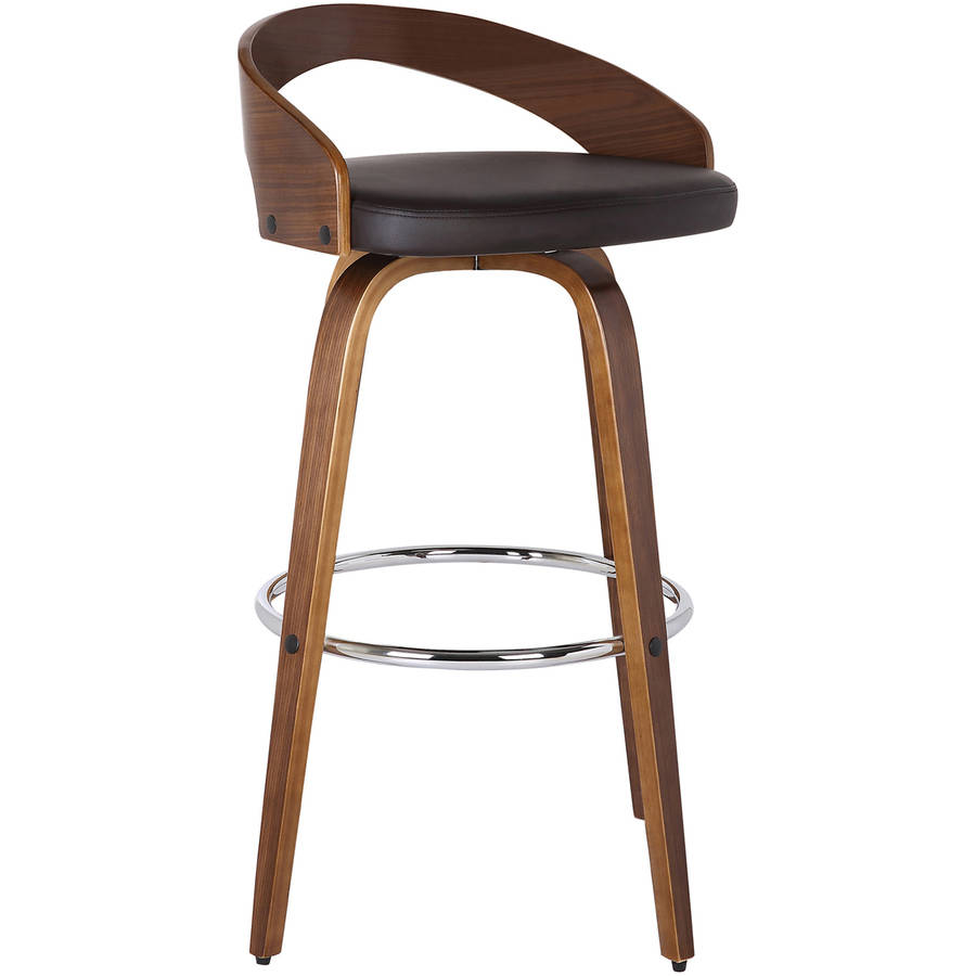 Armen Living Sonia Barstool, Walnut Wood Finish with PU Upholstery
