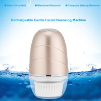 Rechargeable Electric Face Brush Skin Cleaner Face Exfoliating Pores Cleaning Blackhead Removal Brush Champagne