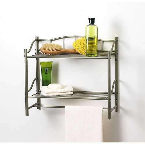 CreativeWare HOME Complete Bath Pearl Nickle Finish 2 Shelf with Towel Bar Wall Organizer
