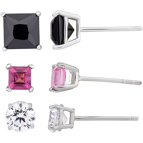 Multi-Color CZ Sterling Silver Stud Earring Set, 3 Pair