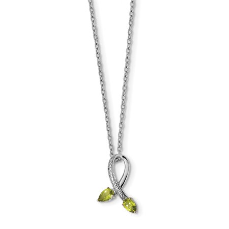 925 Sterling Silver 14k Green Peridot Diamond Chain Necklace Pendant Charm Gemstone For Women