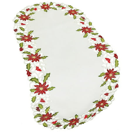 Xia Home Fashions Poinsettia Lace Embroidered Cutwork Table Runner - Cutwork Lace
