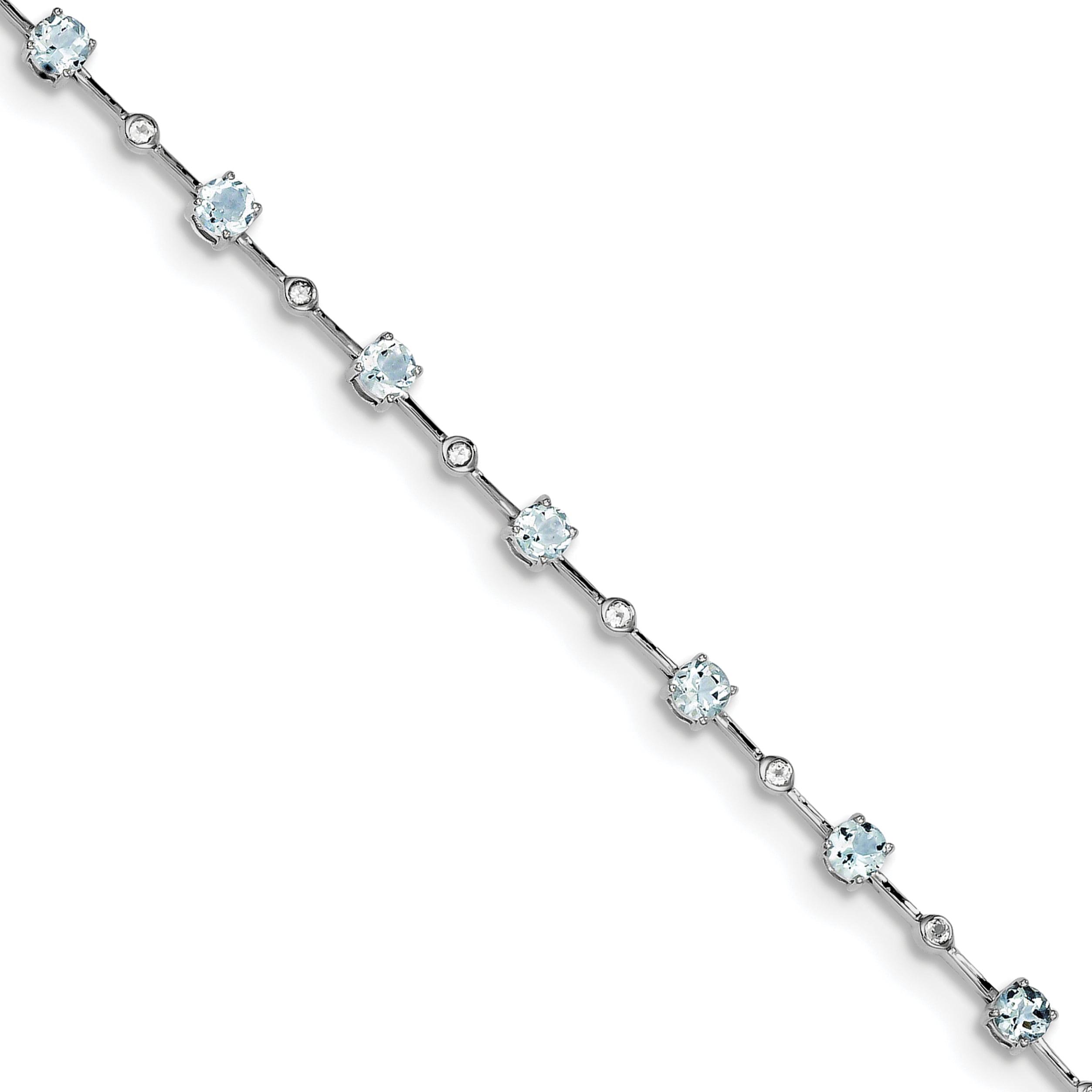 Sterling Silver Aquamarine White Topaz Bracelet by Kevin Jewelers
