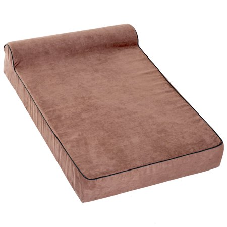 """48""""x30"""" Orthopedic Dog Bed Memory Foam with Pillow Brown - image 1 of 7"""