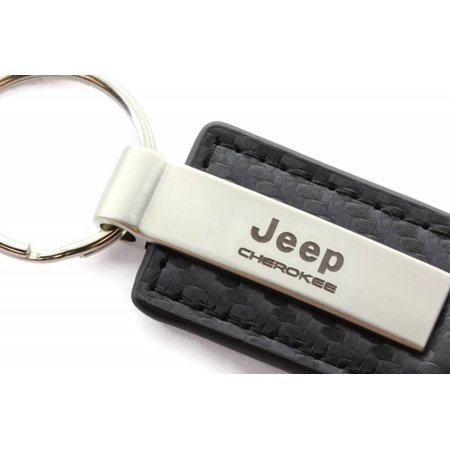 AutoGold Jeep Cherokee Black CF Carbon Fiber Leather Key Chain Ring Tag Fob  Lanyard Metal KC1550 CHE