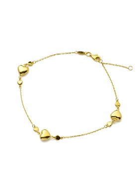 """LOVEBLING 10K Yellow Gold .5mm Diamond Cut Rolo Chain with 3 Heart Row Charm Anklet Adjustable 9"""" to 10"""" (#64)"""