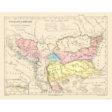 International Map Turkey In Europe Contambert 1880 29 46 X 23