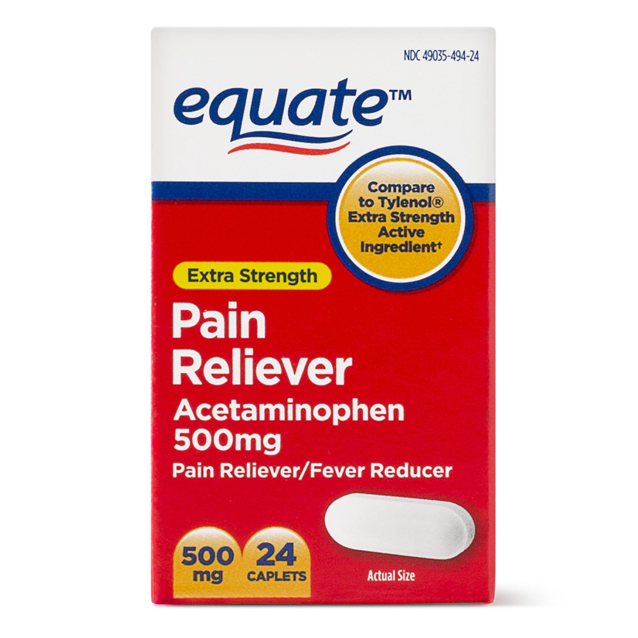 Equate Extra Strength Acetaminophen Caplets 500 Mg 24 Ct