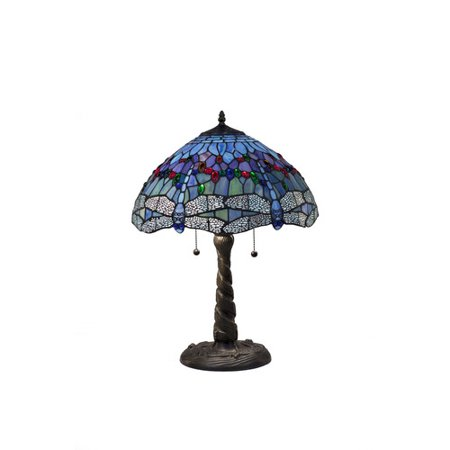Blue Dragonfly Lamp (Serena d'italia Tiffany 2 light Blue Dragonfly 21 in. Bronze Table Lamp)