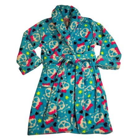 Cozy Robe (Sweet n Sassy - Little Girls Soft Plush Cozy Robe blue skulls /)