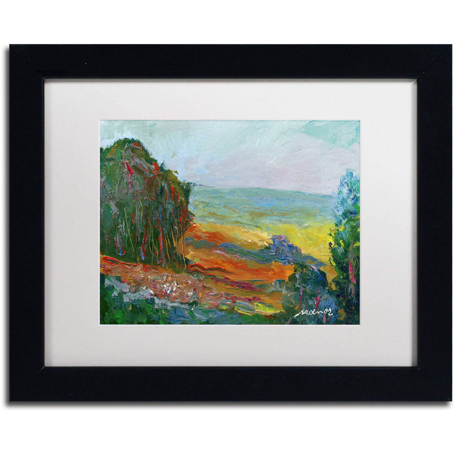 "Trademark Fine Art ""Fall Fields"" Canvas Art by Manor Shadian White Matte, Black Frame"